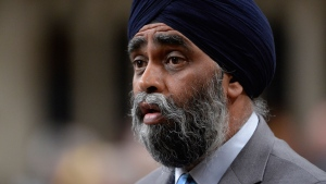 Defence Minister Harjit Sajjan responds to a question during question period in the House of Commons on Parliament Hill in Ottawa on Monday, May 1, 2017. THE CANADIAN PRESS/Adrian Wyld
