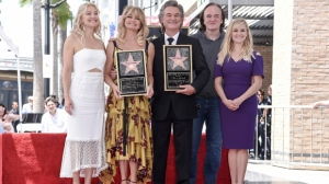 Kate Hudson, from left, Goldie Hawn, Kurt Russell, Quentin Tarantino and Reese Witherspoon attend a ceremony honoring Hawn and Russell with stars on the Hollywood Walk of Fame on Thursday, May 4, 2017, in Los Angeles. (Photo by Richard Shotwell/Invision/AP