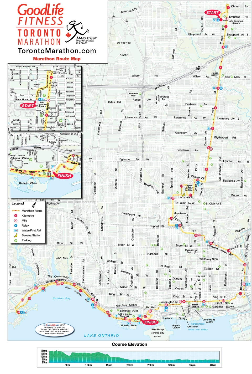 The Goodlife Fitness Toronto Marathon route is pictured.