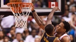Toronto Raptors guard DeMar DeRozan (10) is fouled by Cleveland Cavaliers centre Tristan Thompson (13) on his way to the basket during the second half of game three of an NBA playoff series basketball game in Toronto on Friday. (Frank Gunn/The Canadian Press)