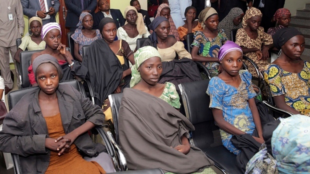 Nigeria's president leaves for London health checks after meeting freed Chibok girls