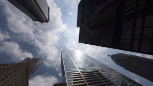 Bank towers are shown from Bay Street in Toronto's financial district, on Wednesday, June 16, 2010. THE CANADIAN PRESS/Adrien Veczan