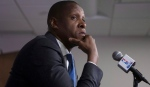 Toronto Raptors president Masai Ujiri attends a news conference during a media day for the team in Toronto on Monday September 26, 2016. THE CANADIAN PRESS/Chris Young