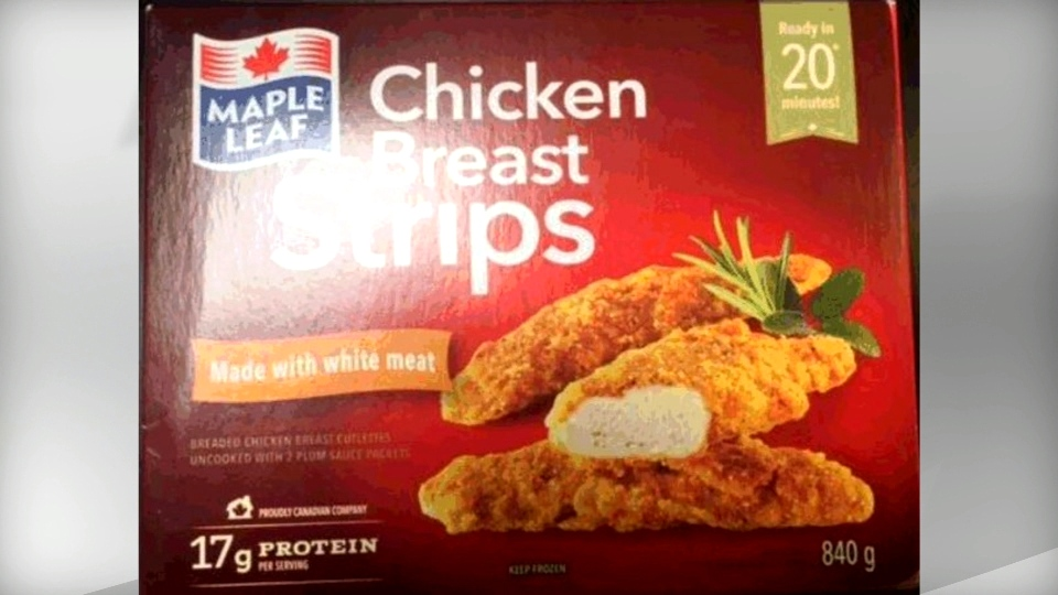 Maple Leaf brand Chicken Breast Strips are seen in this photo.