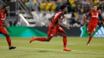 Toronto FC's Tosaint Ricketts celebrates his goal against the Columbus Crew during the second half of an MLS soccer match Wednesday, May 10, 2017, in Columbus, Ohio. Toronto won 2-1. (Jay LaPrete/AP Photo)