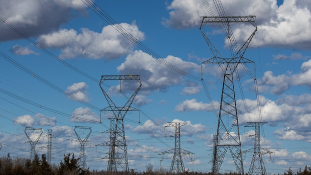 Overhead power lines are pictured in Kingston, Ont., on March 8, 2017. THE CANADIAN PRESS IMAGES/Lars Hagberg