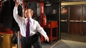 This May 9, 2017 photo provided by NBC Universal shows Melissa McCarthy as Sean Spicer posing for promos for Saturday Night Live backstage in New York. McCarthy will host the show this weekend. (Rosalind O'Connor/NBC Universal via AP)