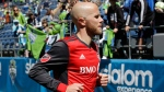 In this May 6, 2017, file photo, Toronto FC midfielder Michael Bradley runs off the field following an MLS soccer match against the Seattle Sounders, in Seattle. (AP Photo/Ted S. Warren)