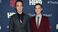 """In this May 12, 2014, file photo, Jim Parsons, left, and Todd Spiewak arrive at the NY Premiere of """"The Normal Heart"""" in New York. Parsons' publicist confirmed multiple reports on May 15, 2017, that Parsons and Spiewak had married. (Photo by Evan Agostini/Invision/AP, File)"""