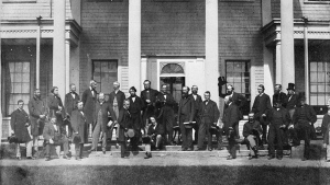 Convention at Charlottetown, P.E.I., on Sept. 1, 1864, of Delegates from the Legislatures of Canada, New Brunswick, Nova Scotia, and Prince Edward Island to take into consideration the Union of the British North American Colonies. THE CANADIAN PRESS/HO-Library and Archives Canada