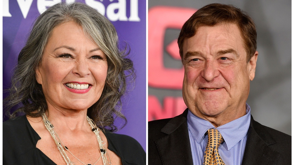 "In this combination photo, Roseanne Barr, left, appears at the NBC Universal Summer Press Day on April 8, 2014, in Pasadena, Calif., and John Goodman appears at the Los Angeles premiere of ""Kong: Skull Island"" on March 8, 2017. (Photo by Richard Shotwell, left, and Jordan Strauss/Invision/AP, File)"