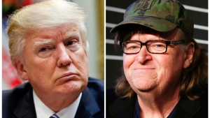 This combination photo shows President Donald Trump, left, at the White House in Washington on March 13, 2017 and filmmaker Michael Moore at the 20th Annual Webby Awards in New York on May 16, 2016. (AP Photo/Pablo Martinez Monsivais, left, and Andy Kropa/Invision/AP, File)
