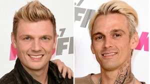 """In this combination photo, Nick Carter, left, of the Backstreet Boys and his singer brother Aaron Carter appear at Wango Tango on May 13, 2017, in Carson, Calif. Robert Carter, the father of Nick and Aaron Carter, died Tuesday, May 16, 2017. Nick Carter said in a statement Wednesday that he was """"heartbroken to share the news that our father, Robert, passed away last night."""" Aaron Carter, 29, posted a photo of his dad on Instagram on Wednesday.  (Photo by Richard Shotwell/Invision/AP, File)"""