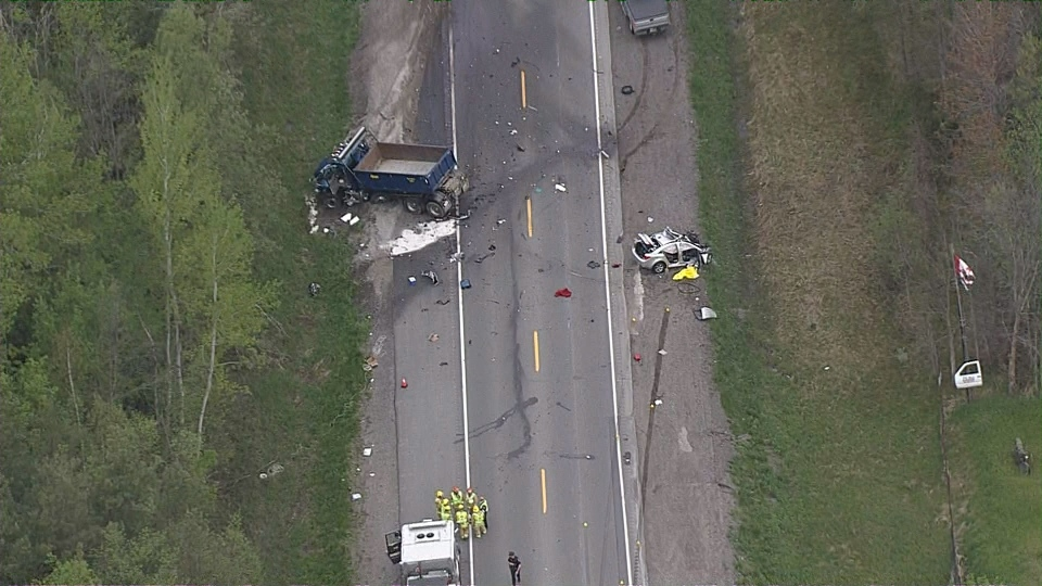 Damaged vehicles are seen at the site of a fatal crash on Lake Ridge Road in Whitby on May 19, 2017. (Chopper 24)