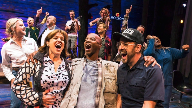 """The cast of """"Come From Away,"""" are shown in a 2016 handout photo. Canada's """"Come From Away"""" has won four Helen Hayes Awards, including outstanding musical production. THE CANADIAN PRESS/HO-Matthew Murphy"""