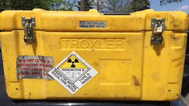 A nuclear gauge went missing inside a radioactive container from a pickup truck in Brampton early Wednesday. (Toronto Police Services)
