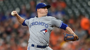 Toronto Blue Jays pitcher Aaron Sanchez throws against the Baltimore Orioles during the first inning of a baseball game, Friday, May 19, 2017, in Baltimore. (AP Photo/Gail Burton)