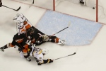 Nashville Predators left wing Pontus Aberg (46) scores against Anaheim Ducks goalie Jonathan Bernier during the third period of Game 5 in the NHL hockey Stanley Cup Western Conference finals in Anaheim, Calif., Saturday, May 20, 2017. (AP / Chris Carlson)