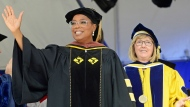 Oprah Winfrey waves during Smith College's 139th Commencement exercises on Sunday, May 21, 2017, in Northampton, Mass. The author, actress, philanthropist and former talk show host gave the college's commencement address. (David Molnar/Springfield Republican via AP)