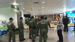 Police investigators work at the lobby of Phramongkutklao Hospital, a military-owned hospital that is also open to civilians, in Bangkok after a bomb wounded more than 20 people, in Bangkok Monday, May 22, 2017. The deputy commissioner of the Royal Thai Police said investigators found traces of batteries and wires at the scene Monday. (AP Photo/Sakchai Lalit)