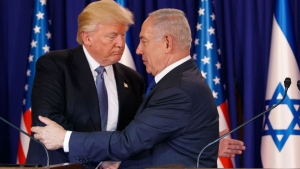President Donald Trump shakes hands with Israeli Prime Minister Benjamin Netanyahu after making a joint statement in Jerusalem, Monday, May 22, 2017. (AP Photo/Evan Vucci)