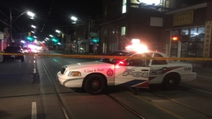 Police respond to a shooting near Gerrard Street and Logan Avenue Monday May 22, 2017. (Mike Nguyen /CP24)