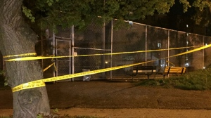 Police are investigating after shots were fired on Close Avenue, near Queen Street West and Lansdowne Avenue, on Tuesday night. (Mike Nguyen/ CP24)