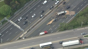 A crash has closed the westbound lanes of the QEW at Highway 427.