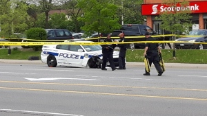 A damaged Peel police cruiser is pictured at Queen Street and Hansen Road in Brampton following a collision.
