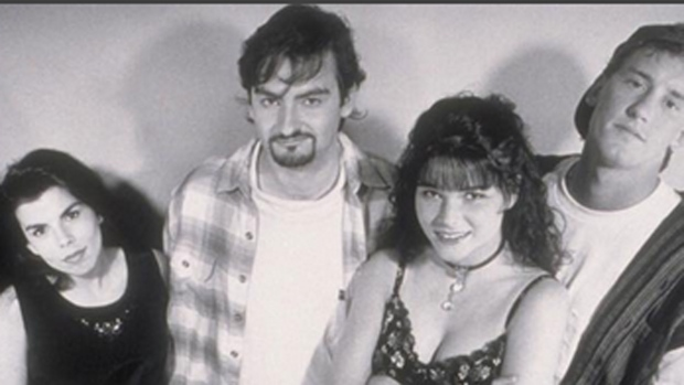 Lisa Spoonauer is pictured (second from right) in this promo shot for the film 'Clerks,' (thatkevinsmith /Instagram)