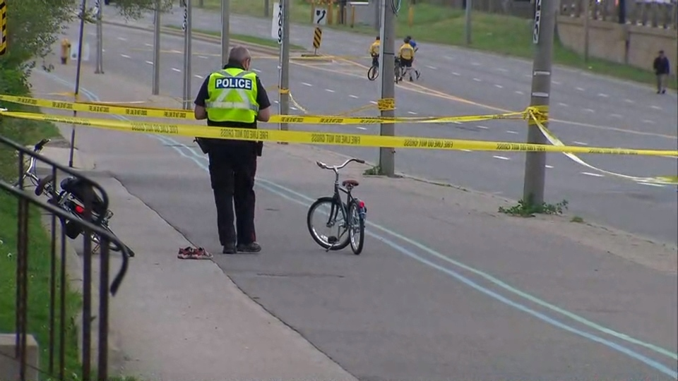 A 5-year-old boy was fatally struck along Lake Shore Boulevard after investigators say he fell off his bike onto the roadway. (CP24)