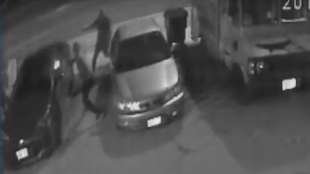 Two men firing handguns at 33-year-old Leonard Pinnock are seen in surveillance camera footage on April 21, 2017. (Toronto  Police Service)
