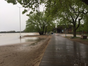 High water levels are pictured at Woodbine Beach Thursday May 25, 2017. (Courtney Heels /CP24)