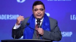 Conservative leadership candidate Deepak Obhrai speaks to the crowd during the opening night of the federal Conservative leadership convention in Toronto on Friday, May 26, 2017. (Nathan Denette/The Canadian Press)