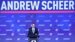 Conservative leadership candidate Andrew Scheer speaks to the crowd during the opening night of the federal Conservative leadership convention in Toronto on Friday, May 26, 2017.  (Nathan Denette/The Canadian Press)