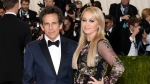 "FILE - In this May 2, 2016 file photo, Ben Stiller, left, and Christine Taylor arrive at The Metropolitan Museum of Art Costume Institute Benefit Gala, celebrating the opening of ""Manus x Machina: Fashion in an Age of Technology"" in New York. Stiller and actress Christine Taylor released a joint statement Friday, May 26, 2017, announcing their breakup. They were married in May 2000 and have two children, who they said will remain their priority. (Photo by Evan Agostini/Invision/AP, File)"