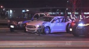 Police say a driver crashed into two vehicles while fleeing from officers in Mississauga on Saturday morning.