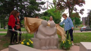 A sculpture was unveiled at Brampton Centennial High School to commemorate the 42nd anniversary of a deadly shooting at the school.
