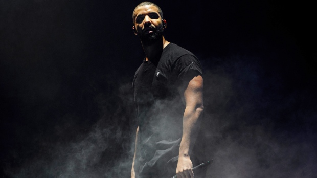 Canadian singer Drake performs on the main stage at Wireless festival in Finsbury Park, London on June 27, 2015. (Jonathan Short/Invision/AP)