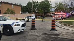 Police cordon off an area of Bishopstoke Lane in Mississauga following a fatal shooting Monday May 29, 2017. (@kathleenpero /CP24)