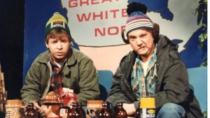 "Rick Moranis, left, and Dave Thomas are shown in this undated handout photo as the characters Bob and Doug McKenzie in this scene from the SCTV comedy series. Each delirious episode began in the same adroitly subversive way - with a torrent of TV sets hurtling out apartment windows. And the bombastic voiceover that followed was a beacon to all diehard comedy nerds: ""'SCTV' is on the air!"" For any TV junkie who grew up in the '70s, the wildly inventive sketch series defined Canadiana and our uniquely outsider perspective in a whole new hilarious way. THE CANADIAN PRESS/HO"