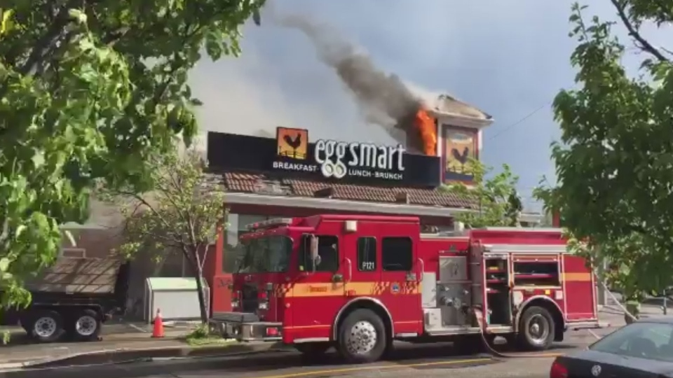 Flames shoot from the roof of an Eggsmart restaurant near Yonge Street and Sheppard Avenue in North York Tuesday May 30, 2017. (@tweetabletalk /Twitter)