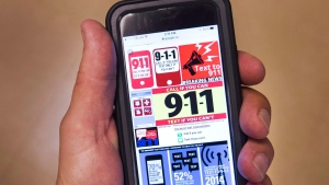 Websites offering 911 emergency text services are seen on a smartphone Wednesday, September 14, 2016 in Montreal. THE CANADIAN PRESS/Ryan Remiorz