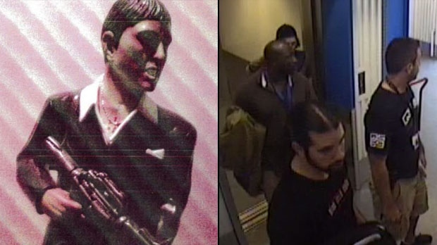 Peel police have launched an internal investigation after a judge found that an officer had taken a large wooden sculpture depicting Tony Montana (left) from the film Scarface while conducting an investigation. (Submitted by Kim Schofield)