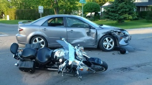 Police said the 63 year old was ejected from his motorcycle and had to be airlifted to a London-area hospital with serious, life-threatening injuries. (Source: OPP)