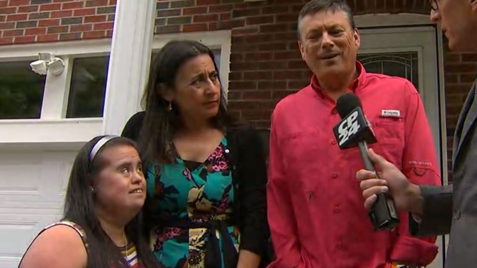Francie, Pamela and Carlos Munoz speak with reporters after meeting with Toronto Police Chief Mark Saunders Monday June 5, 2017.