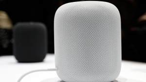 The HomePod speaker is seen in a showroom during an announcement of new products at the Apple Worldwide Developers Conference Monday, June 5, 2017, in San Jose , Calif. (AP Photo/Marcio Jose Sanchez)
