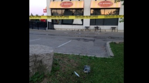 Objects are seen in front of a suspicious bakery fire in Vaughan on June 12, 2017. (Cam Woolley/CP24)