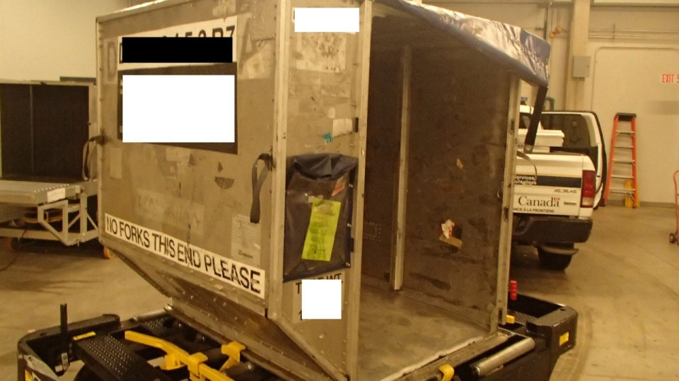 A cargo container aboard a flight that landed at Pearson International airport on May 5 from Trinidad and Tobago was carrying 43-kilograms of cocaine, CBSA says. (Canada Border Services Agency)