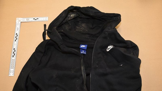A black Nike hooded sweatshirt discarded after the murder of Leonard Pinnock on Apr. 21, 2017. (TPS)